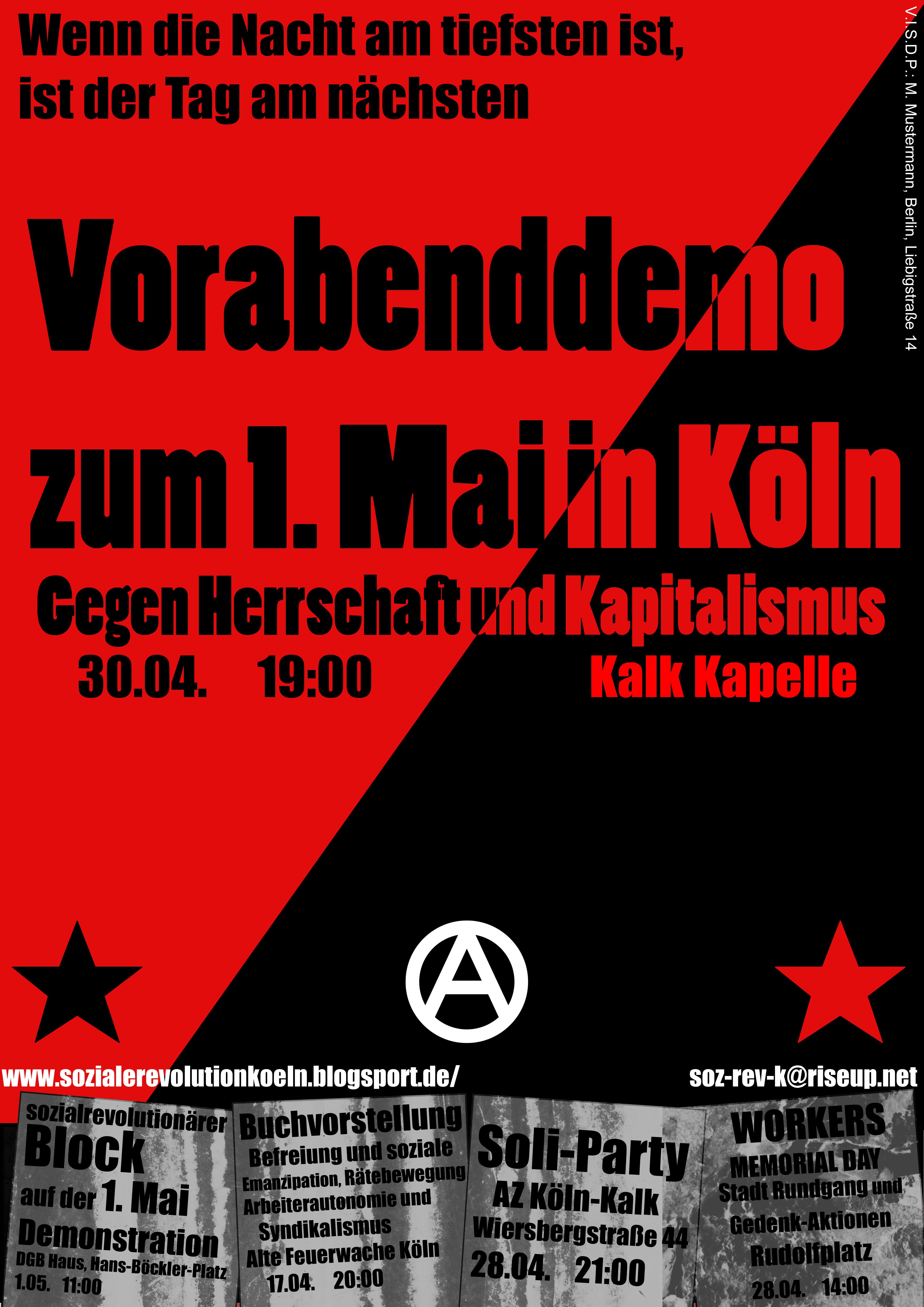 Vorabenddemo zum 1. Mai Köln um 19 Uhr